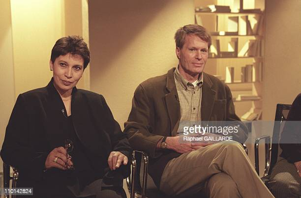 JeanMarie Gustave Le Clezio and wife Jemia at TV show Bouillon de Culture in Paris France on November 14 1997