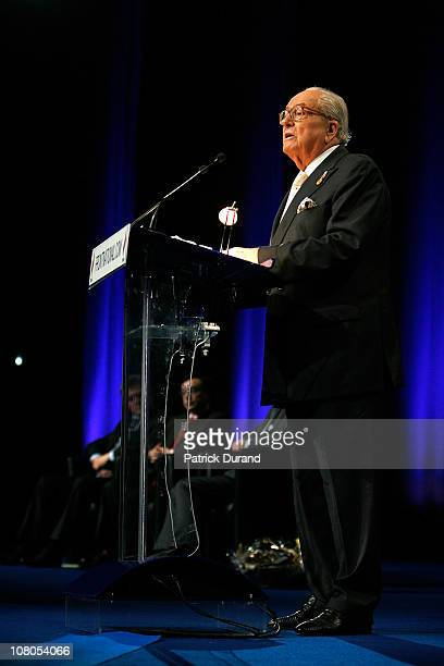 JeanMarie Le Pen addresses the congressists as French nationalist party Front National elects its new leader on January 15 2011 in Tours France...