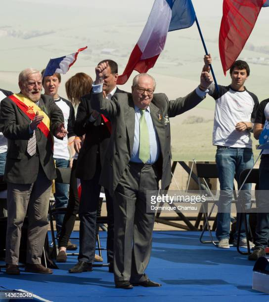 JeanMarie Le Pen attends the French Far Right Party May Day demonstration on May 1 2012 in Paris France Marine Le Pen the daughter of the French...