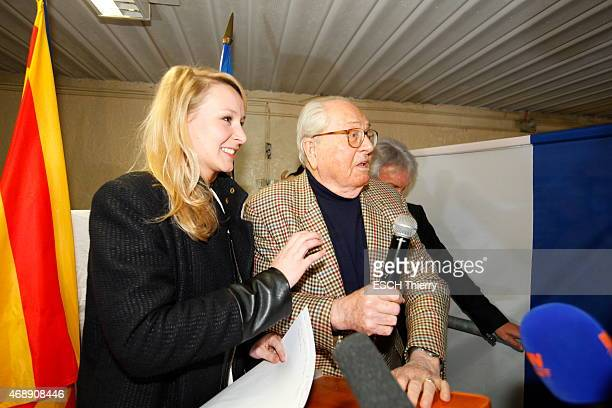 JeanMarie Le Pen former leader of the National Party and his granddaughter Marion MarechalLe Pen in Carpentras on the evening of the results of the...