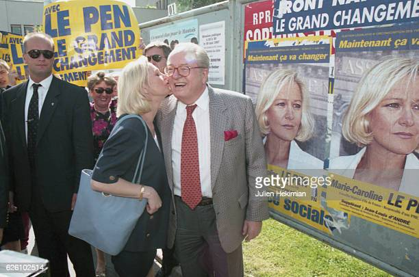 JeanMarie Le Pen supports his daughter MarieCaroline Le Pen in the 8th district of Yvelines MantesLaJolie France 30th May 1997