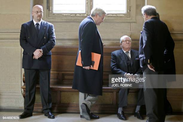 JeanMarie Le Pen the 76 yearold founder of the National Front party waits prior to a hearing 13 January 2004 in Paris during an appeal trial The...