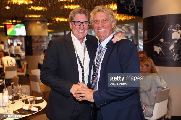 JeanMarie Pfaff and Harald Schumacher attend the Club Of Former National Players Meeting during the UEFA Nations League group A match between Germany...