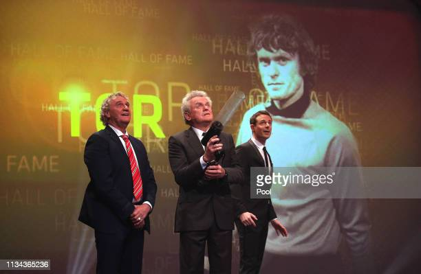 JeanMarie Pfaff Sepp Maier and Alexander Bommes on stage during the Hall Of Fame gala at Deutsches Fussballmuseum on April 01 2019 in Dortmund Germany