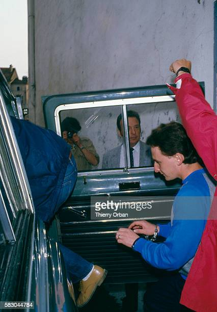 JeanMarie Villemin leaves the law courts of Epinal France He murdered Bernard Laroche who was accused of murdering Villemin's son