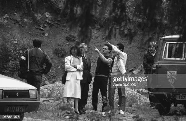 JeanMarie Villemin lors de la reconstitution du meurtre de Bernard Laroche dans l'affaire du petit Grégory à Aumontzy le 20 juin 1985 France
