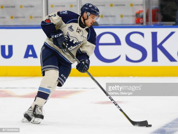 JeanMathieu Lavoie of the Sherbrooke Phoenix skates prior to his game against the Quebec Remparts at the Centre Videotron on October 29 2017 in...