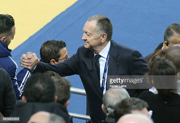 JeanMichel Aulas attends the French Finale League Cup between Paris SaintGermain FC and Olympique Lyonnais FC at Stade De France on April 19 2014 in...