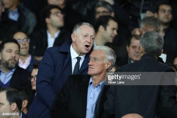 JeanMichel Aulas of Olympique Lyonnais react with Didier Deschamps during the French Ligue 1 match between Paris Saint Germain and Olympique Lyonnais...