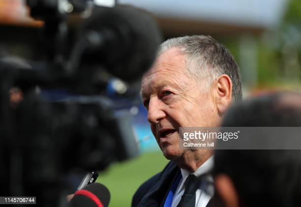 Jean-Michel Aulas Owner and President of Olympique Lyonnais during the Women UEFA Champions League semi final match between Chelsea and Olympique...