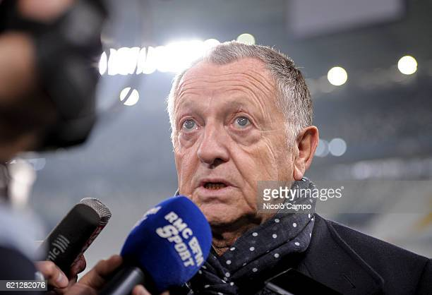 JeanMichel Aulas speaks during a Olympique Lyonnais training session ahead of the UEFA Champions League Group H match between Juventus FC and...