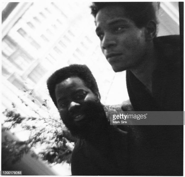 JeanMichel Basquiat and artist friend Quattara Watts at the Vreg Baghoomian Gallery September 5 1988 in New York New York