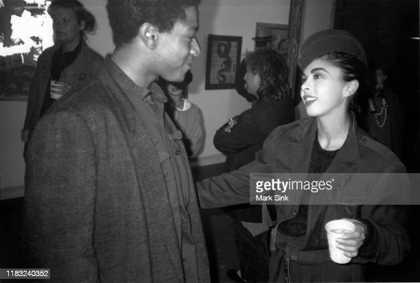 JeanMichel Basquiat and Suzanne Mallouk at the Patrick Fox Gallery September 5 1985 in New York New York