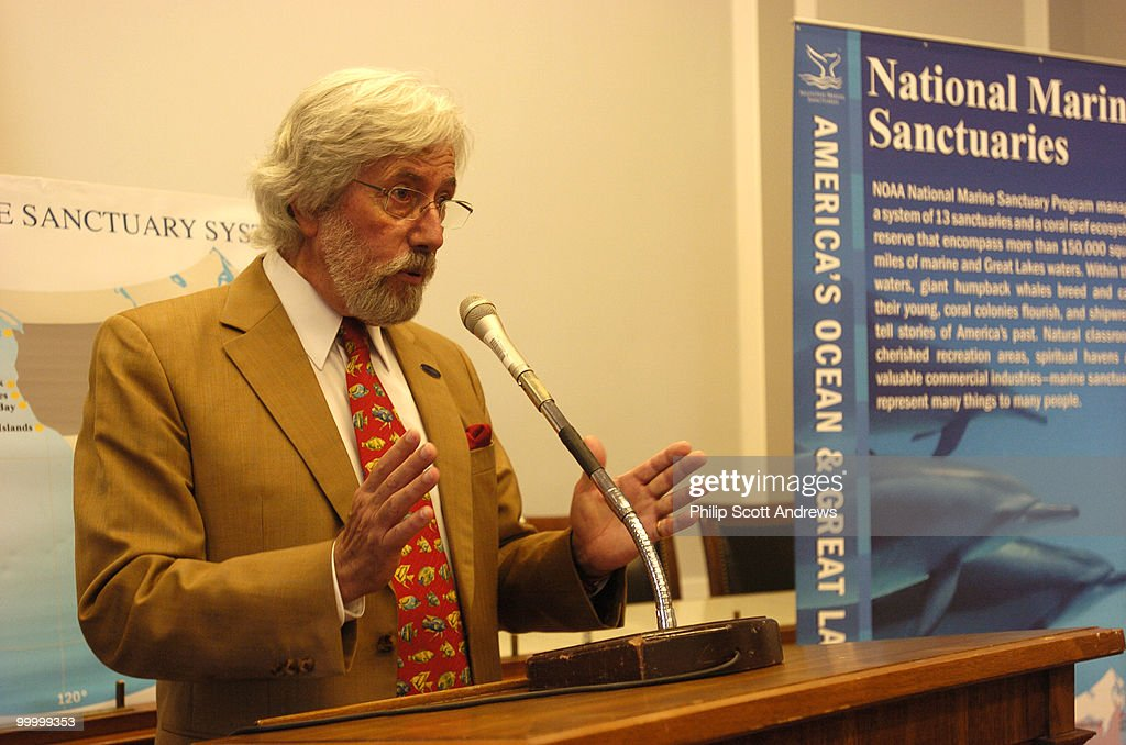 Jean-Michel Cousteau, son of marine biologist Jacques Cousteau, speaks at a press conference to announce the formation of a new Congressional Caucus on National Marine Sanctuaries.