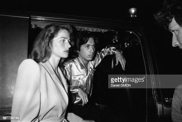 JeanMichel Jarre et Charlotte Rampling après le concert donné par le musicien Place de la Concorde le 14 juillet 1979 à Paris France
