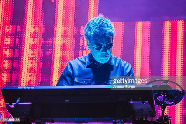 Jean-Michel Jarre performs on the main stage during day 2 of BlueDot Festival 2016 at Jodrell Bank on July 23, 2016 in Manchester, England.