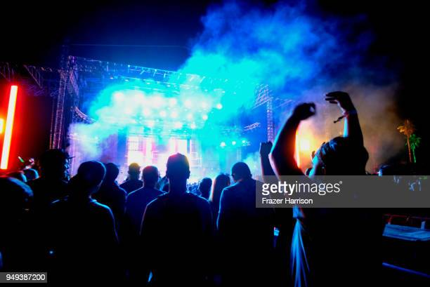 JeanMichel Jarre performs onstage during the 2018 Coachella Valley Music And Arts Festival at the Empire Polo Field on April 20 2018 in Indio...