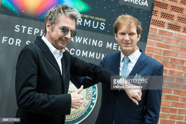 JeanMichel Jarre poses with JeanPascal Perret of Omega during the Starmus Festival on June 20 2017 in Trondheim Norway