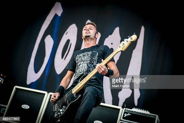 JeanMichel Labadie of Gojira performs on Day 2 of the Heavy Montreal Festival at Parc JeanDrapeau on August 8 2015 in Montreal Canada