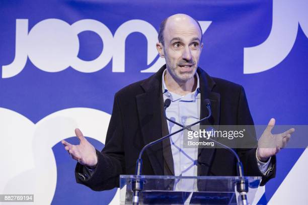 JeanMichel Mathieu chief executive officer of Joon gestures while speaking as Air FranceKLM Group launches their lowcost carrier in Paris France on...
