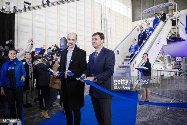 JeanMichel Mathieu chief executive officer of Joon left and Franck Terner chief executive officer of the Air France division of Air FranceKLM Group...