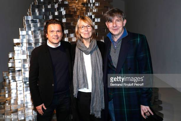JeanMichel Othoniel Francoise Nyssen and Johan Creten attend the JeanMichel Othoniel Oracle Exhibition Preview at Gallery Perrotin on March 15 2019...