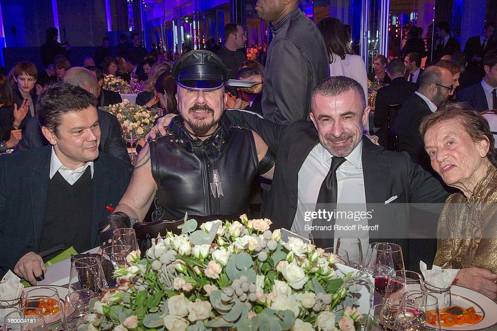 Jean-Michel Othoniel, Peter Marino, Alain Sebban and Claude Lalanne attend the Sidaction Gala Dinner 2013 at Pavillon d'Armenonville on January 24, 2013 in Paris, France.
