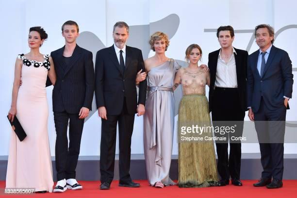 Jeanne Balibar, Benjamin Voisin, Xavier Giannoli, Cécile de France, Salomé Dewaels, Vincent Lacoste and Louis-Do de Lencquesaing attend the red...