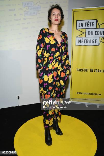 Jeanne Balibar poses at 'La Fete Du Cour Metrage' Photocall on March 14 2018 in Paris France