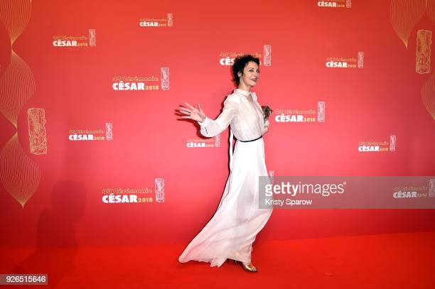 Jeanne Balibar poses with the Cesar award for Best Actress for 'Barbara' during the Cesar Film Awards at Salle Pleyel on March 2 2018 in Paris France