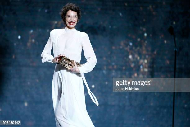Jeanne Balibar receives the Best Actress Award for the movie 'Barbara' during the Cesar Film Awards 2018 at Salle Pleyel on March 2 2018 in Paris...