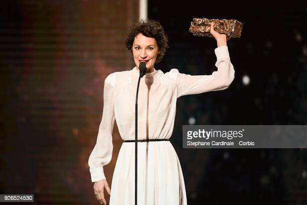 Jeanne Balibar receives the Best Actress Award for the movie 'Barbara' during the ceremony of the Cesar Film Awards 2018 at Salle Pleyel on March 2...