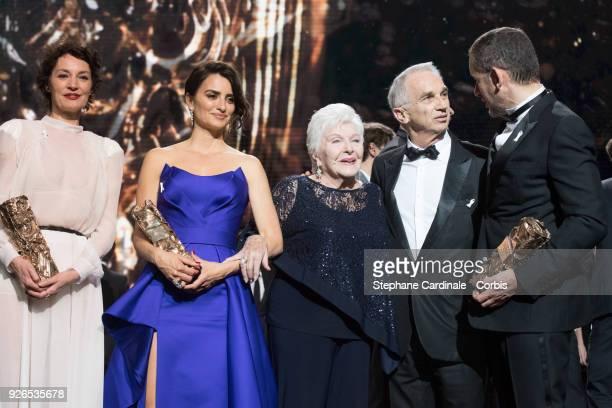 Jeanne Balibar receives the Best Actress Award for the movie 'Barbara' Penelope Cruz with the honourary Cesar Award Line Renaud Alain Terzian and...