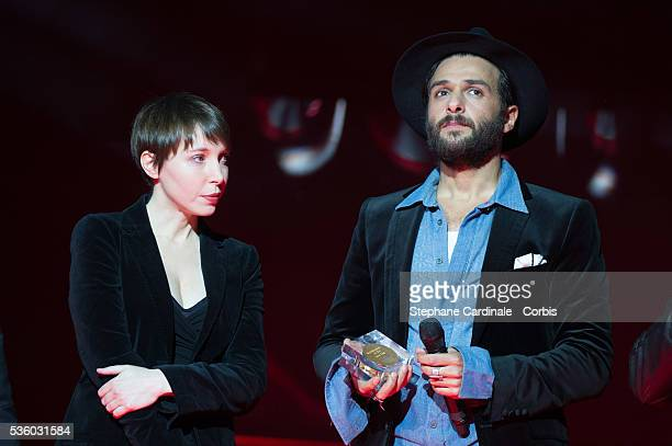 Jeanne Cherhal and Yodelice on stage during the Ceremony of 'Les Grands Prix De La SACEM 2014' at L'Olympia on November 24 2014 in Paris France