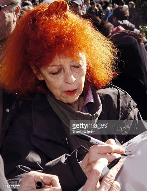 Jeanne Claude during Christo and Jeanne Claude Sign Volunteers' Vests in Central Park February 11 2005 at Central Park in New York City New York...