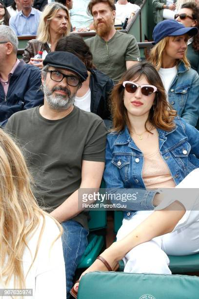 Jeanne Damas and a guest attend the 2018 French Open Day Ten at Roland Garros on June 5 2018 in Paris France