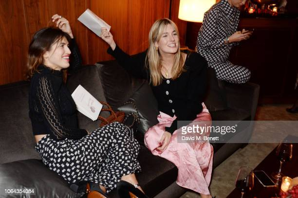 Jeanne Damas and Camille Charriere wearing ALEXACHUNG attend Alexa Chung's CHUNGSGIVING dinner to celebrate Thanksgiving and the launch of her...