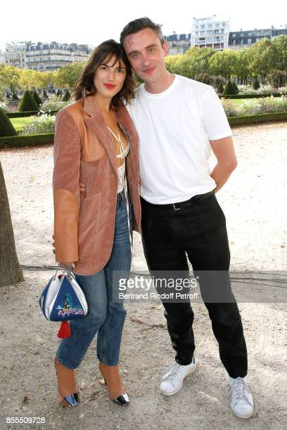 Jeanne Damas and Stylist Guillaume Henry pose after the Nina Ricci show as part of the Paris Fashion Week Womenswear Spring/Summer 2018 on September...