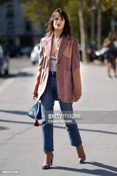 Jeanne Damas arrives at Nina Ricci show as part of the Paris Fashion Week Womenswear Spring/Summer 2018 on September 29 2017 in Paris France
