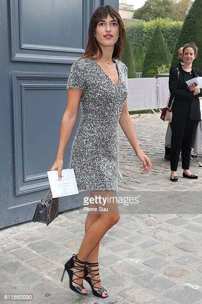 Jeanne Damas arrives at the Christian Dior show as part of the Paris Fashion Week Womenswear Spring/Summer 2017 on September 30, 2016 in Paris,...