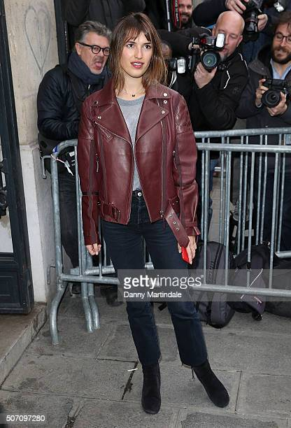Jeanne Damas arrives at the Jean Paul Gaultier Spring Summer 2016 show as part of Paris Fashion Week on January 27 2016 in Paris France