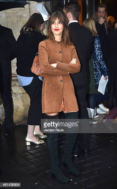 Jeanne Damas arrives at the Sonia Rykiel Fashion Show during the Paris Fashion Week S/S 2016 Day Seven on October 5 2015 in Paris France