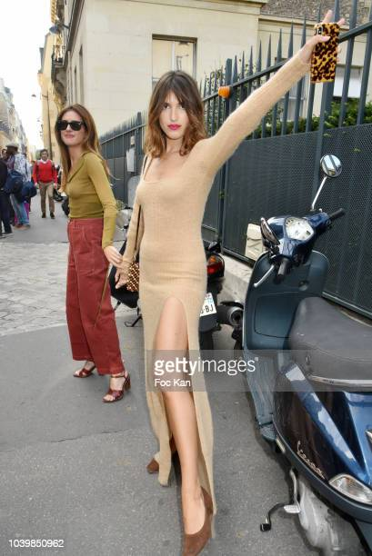 Jeanne Damas attends the Jacquemus show as part of the Paris Fashion Week Womenswear Spring/Summer 2019 on September 24, 2018 in Paris, France.