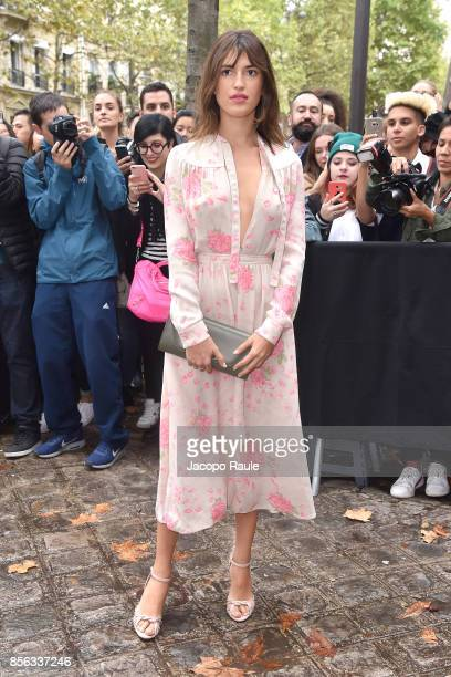 Jeanne Damas is seen arriving at Valentino show as part of the Paris Fashion Week Womenswear Spring/Summer 2018 on October 1 2017 in Paris France