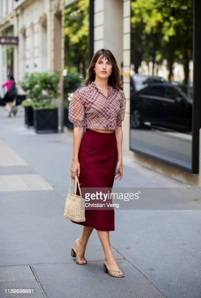 Jeanne Damas is seen outside Dior during Paris Fashion Week - Haute Couture Fall/Winter 2019/2020 on July 01, 2019 in Paris, France.