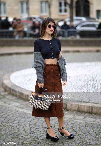 Jeanne Damas is seen outside the Miu Miu show during Paris Fashion week Womenswear Fall/Winter 2020/2021 Day Eight on March 02 2020 in Paris France
