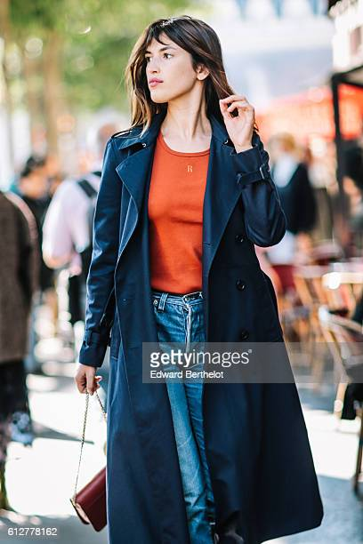Jeanne Damas is seen outside the Vanessa Seward show during Paris Fashion Week Spring Summer 2017 on October 4 2016 in Paris France