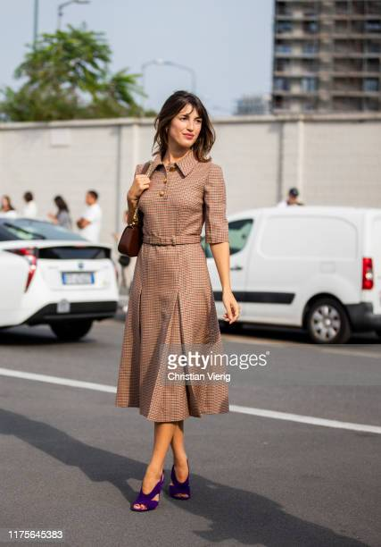 Jeanne Damas is seen wearing brown dress outside the Prada show during Milan Fashion Week Spring/Summer 2020 on September 18 2019 in Milan Italy