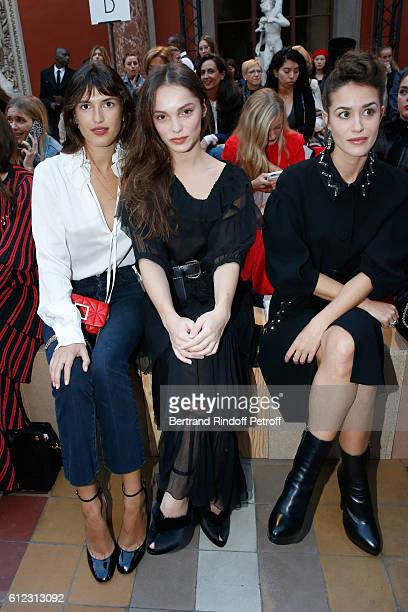 Jeanne Damas Lola Le Lann and Alice David attend the Sonia Rykiel show as part of the Paris Fashion Week Womenswear Spring/Summer 2017 on October 3...