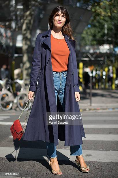Jeanne Damas poses after the Vanessa Seward show at the Theatre du Chatelet during Paris Fashion Week SS17 on October 4, 2016 in Paris, France.